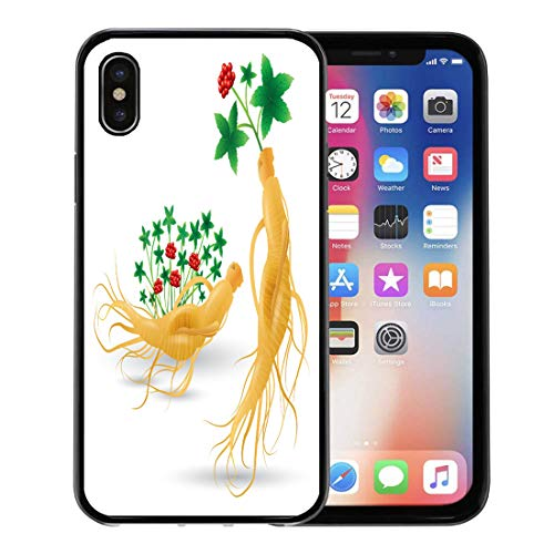 - Emvency Phone Case for Apple iPhone Xs Case/iPhone X Case,Korean Ginseng Root Leaf and Flower White China Herbal Soft Rubber Border Decorative, Black