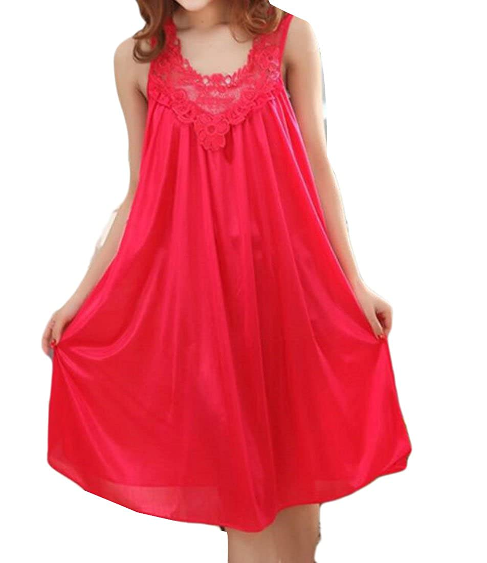 CRYYU-Women Cute Lace Sling V-Neck Charmeuse Sleeping Dress