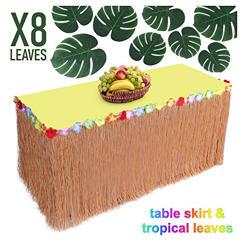 Hawaiian party decorations Luau Grass Table Skirt – Raffia Table Skirting with Colorful Flowers, Large Tropical Palm Leaves - Beach & Jungle Themed Buffet Table Tiki -