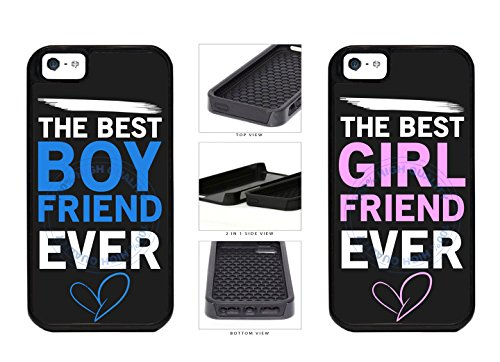 BleuReign(TM) Set Of 2 The Best Boyfriend Girlfriend Ever 2-Piece Dual Layer Phone Case Back Cover For Apple iPhone 5 5s