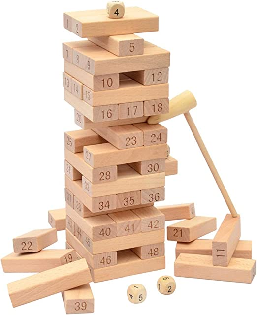 ZPWHOME Tumbling Tower Stacking Jenga Classic Number Games Educación Infantil Divertida Juguete Familiar de Madera - 51 Piezas: Amazon.es: Hogar