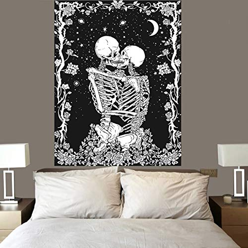 Tapestry Wall Hanging Skeleton Tapestries Lover Kiss L'amoureux Skull Tablecloth Moon Starry Wall Art Flower Blanket for Dorm Door Bedroom Living Room Decortive Home Decor Black 51X59inch(130X150cm)