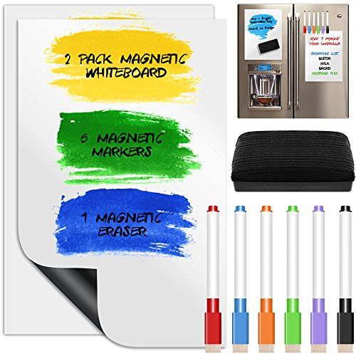 2 Pack Magnetic Dry Erase Whiteboard Sheets, YuCool Calendar Message Board for Kitchen Fridge/Refrigerator Student Kids Teacher , with 6 Colors Markers and a Board Eraser,Upgraded 8 x 12 inch - White - 6 Sheet Calendar
