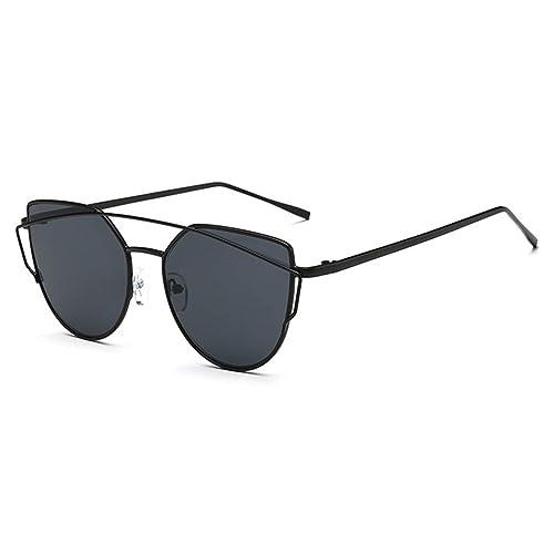 Highdas Nuovo gatto dell'occhio Occhiali da sole Aviator donne del metallo di modo annata cornice dello specchio di vetro di Sun unico piatto signore degli occhiali da sole UV400 C1
