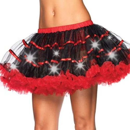 [Eastabile Women's LED Light Up Skirt Tutu Petticoat Party Crinoline Mini Dress (Black+red)] (Light Up Black Tutu)