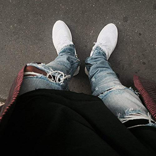 40 Nero Da Jeans Alla Chiaro 27 Strappati Libero Il Fit Blu Pantaloni Tempo Per Moda Moderna Uomo Casual Slim UgSBwgaRq