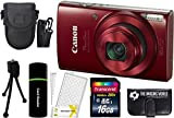 Canon PowerShot ELPH 190 IS 20.2MP 10x Zoom Wi-Fi Digital Camera (Red) + 16GB Card + Reader + Case + Accessory Bundle