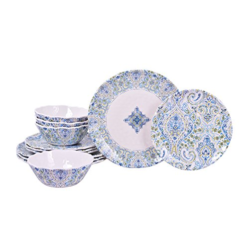 222 Fifth Cashmeira Turquoise 12 Piece Set, service for 4