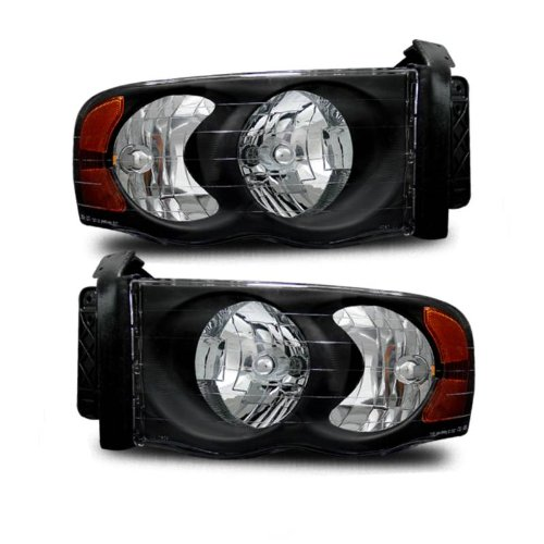SPPC Crystal Headlights Black Assembly Set For Dodge Ram - (Pair) Driver Left and Passenger Right Side Replacement Headlamp
