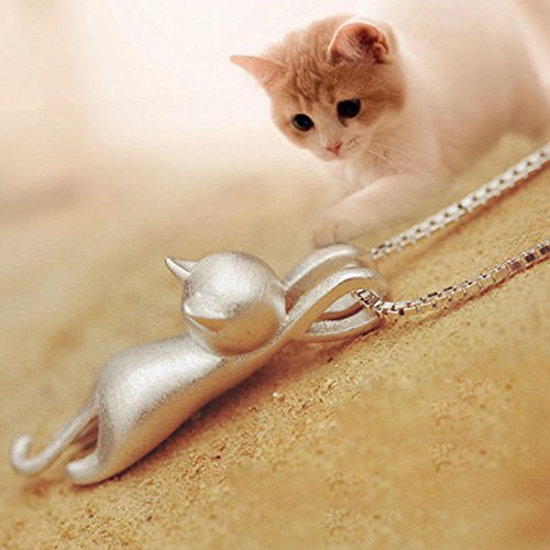 Women Silver Plated Cat Kitty Pendant Charm Collar Bib Chain Necklace Jewelry