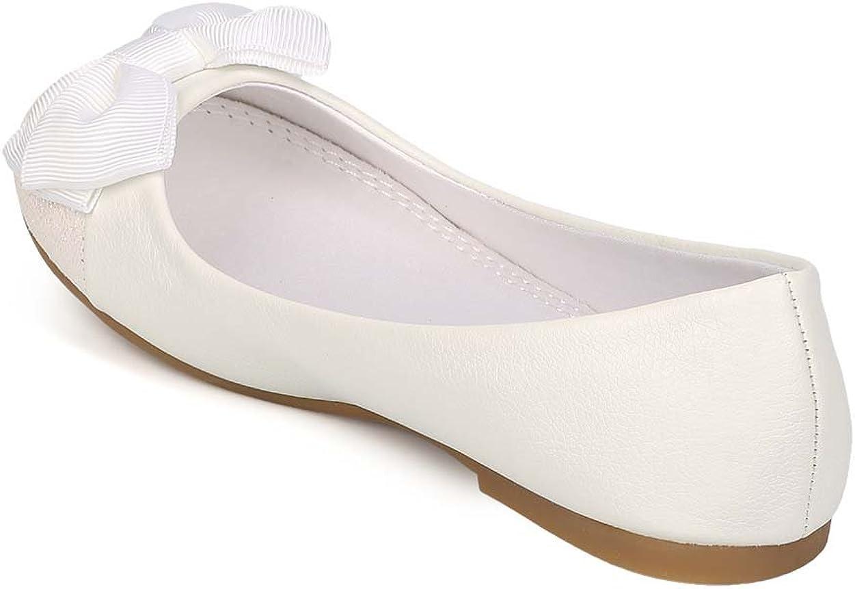 Little Girl//Big Girl EI45 White Alrisco Leatherette Glitter Capped Toe Bow Ballerina Flat