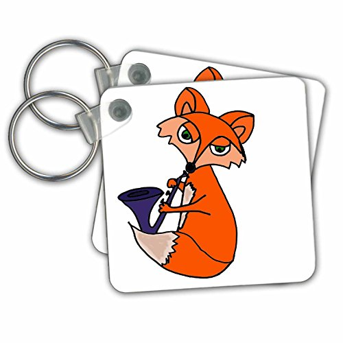- 3dRose Funny Cool Red Fox Playing Blue Saxophone - Key Chains, 2.25