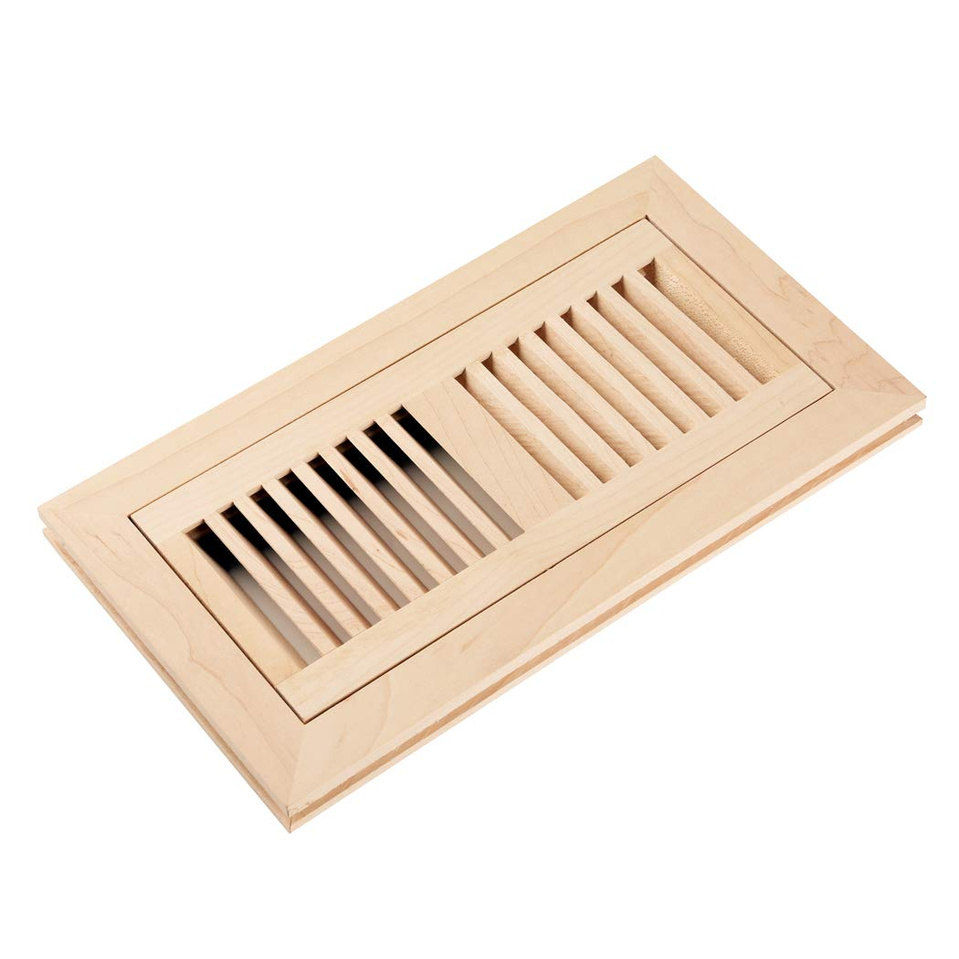 Homewell Maple Wood Floor Register Vent, Flush Mount with Frame, 4x10 Inch, Unfinished