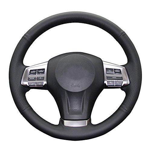 Eiseng DIY Steering Wheel Cover for Subaru Impreza 2013 2014 2015 2016/Forester 2014-2016/Outback Legacy 2012-2014/XV Crosstrek 2013-2015 Interior Accessories Genuine Leather Sew (Black thread)