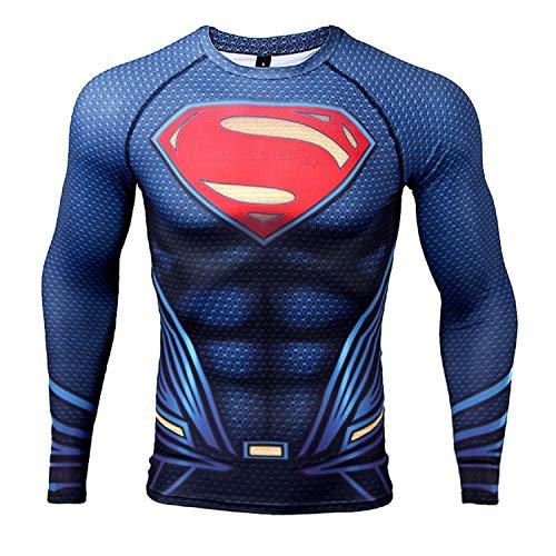 COOLMAX Upgrade Raglan Sleeve Superman 3D Printed T-Shirt Men Compression Shirt (Medium, Dark Blue) -