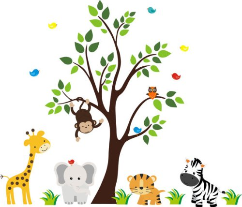 Jungle Creatures Decals | Safari Themed Animal Stickers | Wall Decals Nursery | Giraffe | Gray Elephant | Tiger | Zebra | Big Tree | Monkey | Birds | Owl | Repositionable | Made in the U.S.A. -