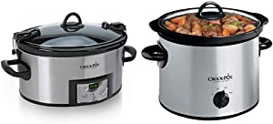 Crock-Pot SCCPVL610-S-A 6-Quart Cook & Carry Programmable Slow Cooker with Digital Timer, Stainless Steel & 3-Quart Round Manual Slow Cooker, Stainless Steel and Black - SCR300-SS