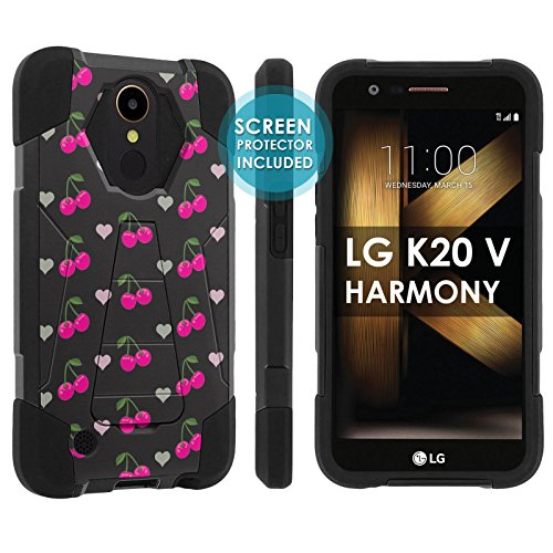 Harmony Cherry - [POPCulture] Rugged Case For LG [K20 V/ K20 plus] LG Harmony [Black/Black] Military Armor Case [KickStand] [Screen Protector]- [Black Pink Cherry] Print Design