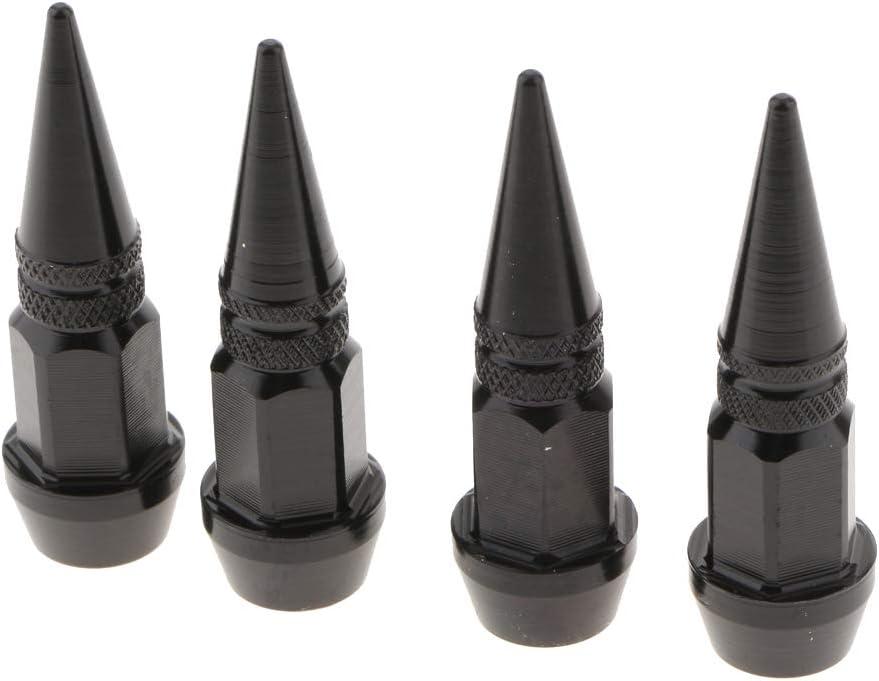 Valve Stem Caps Billet Aluminum Long Spike Hot Rod 4 Pack Black