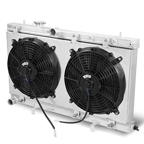 For Subaru Impreza/WRX/STI 2-Row Dual-Core Aluminum Radiator + 12V Fan Shroud (Radiator Dual Aluminum Core)