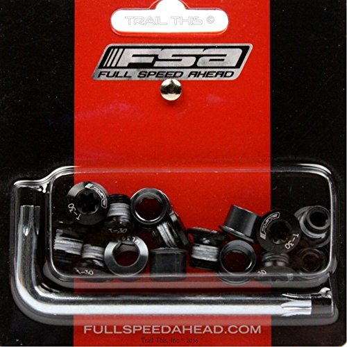 FSA Torx T-30 Alloy Black Triple/Double Chainring Nuts Bolts Kit 15-Piece - Nut Chainring