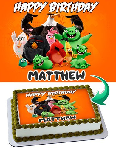 Angry Birds Edible Cake Topper Personalized Birthday 1/4 Sheet Decoration Custom Sheet Party Birthday on Wafer Rice Paper]()