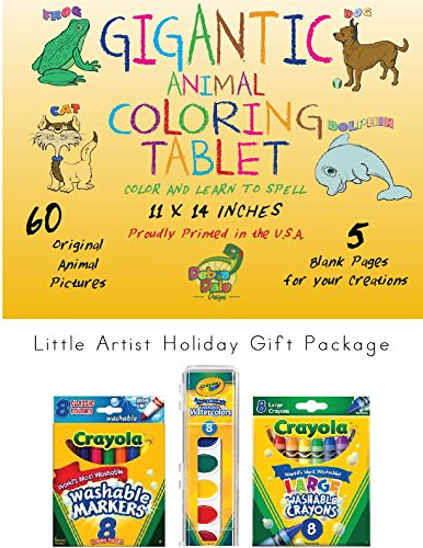Debra Dale Designs Gigantic Animal Coloring Book for Toddlers with Crayola Washable Crayons, Crayola Washable Markers & Crayola Washable Paints- Parents & Toddlers LOVE this Coloring Book Set!