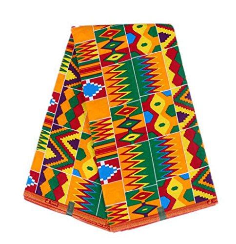 (DOLLY DOLLY 100% Cotton Hollandais Ankara African Batik Wax Fabric Nigerian Wax Fabric for Party Dress 6 Yards (Yellow-Green))