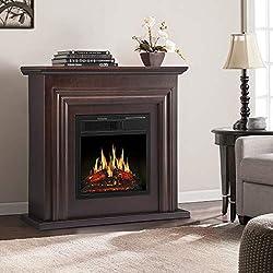 JAMFLY Electric Fireplace Inserts Freestanding Wood Heater Stone Mantel 750W 1500W by JAMFLY