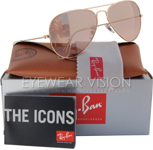 Ray-Ban AVIATOR GRADIENT 55mm Gold w/ Silver, Pink Mirror - Gold Ban Pink Aviator And Ray