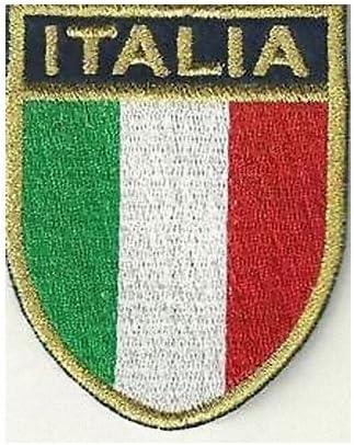 b2see Toppe Patch termoadesive Ricamate Jeans Cucito Vestiti Stoffa termoadesiva Bandiera Italia-No Azzurro 7 x 5,8 cm
