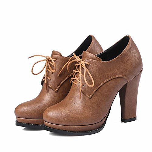 Block Lace Carolbar Boots Heel Up Brown Ankle Women's Western IqIrw4Ep
