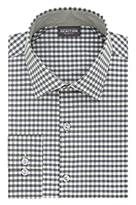Kenneth Cole REACTION Men's Technicole Slim-Fit Gingham Spread Collar Dress Shirt