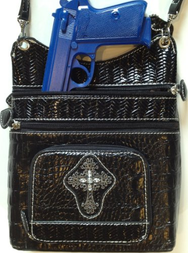 """Concealed Carry Crossbody Purse - Limited Edition """"CHRISTY"""" CCW handbag - Black/Black Leather by GSS"""