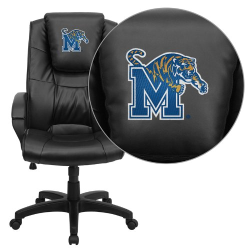 Flash Furniture Memphis Tigers Embroidered Black Leather Executive Office - Leather Tigers Executive Black