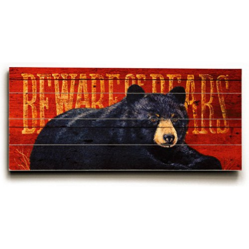"Beware Of Bears 25""x34"" Planked Wood Sign Wall Decor Art"