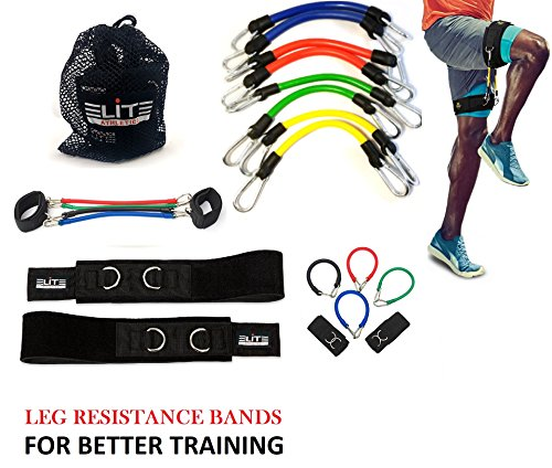 Speed Agility Kinetic Leg Resistance Bands - Ultimate Speed Training - Thigh Straps 8 Exercise&Fitness Bands + Carry Bag-Increase Muscle Endurance all Sports Specific -Football Basketball Soccer by Aria Supplies