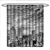 Anniutwo Black and White Shower Curtains with Shower Hooks Skyline Rooftop View of New York in Cloudy Day Panoramic Bust Cityscape Satin Fabric Sets Bathroom W72 x L96 Black White