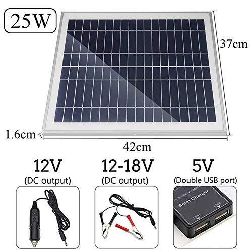 Panel Solar, Portátil De Paneles Solares 10/15/20 / 25W con 2 Puertos USB para Smartphones Camping Tablet Travel
