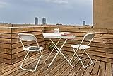 Balcony/Garden Folding Furniture Set: 1 Table & 2 Chairs - White