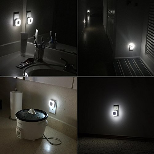 Sycees SC01 Plug in LED Night Light Lamp with Dusk to Dawn Sensor for Bedroom, Bathroom, Kitchen, Hallway, Stairs, Daylight White, 6-Pack