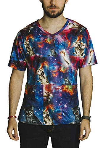 - Funny Guy Mugs Scrubs Unisex Space Cats Print V-Neck Scrub Top, Large