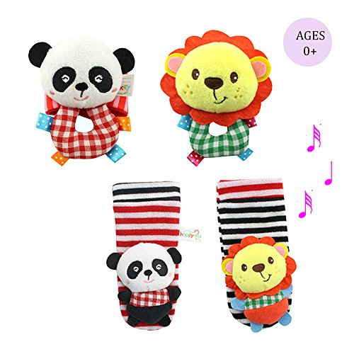 Daisy Infant Baby Soft Plush 4 Animal Wrist Rattle and Foot Finder Socks Set, Lion and Panda