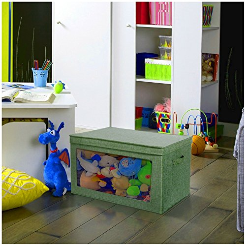 Foldable Storage Box with Lid Large Vision Window Clothes Easy Grab Handles Bin Basket Durable Home Office Playroom Large Storage Space Saver Fabric Container & eBook by BADA (See Thru Bins Toy Box)