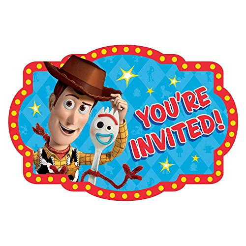 Disney Pixar Toy Story 4 Woody and Forky Birthday Party Invitations 16 Count Save the - Woody Invitation