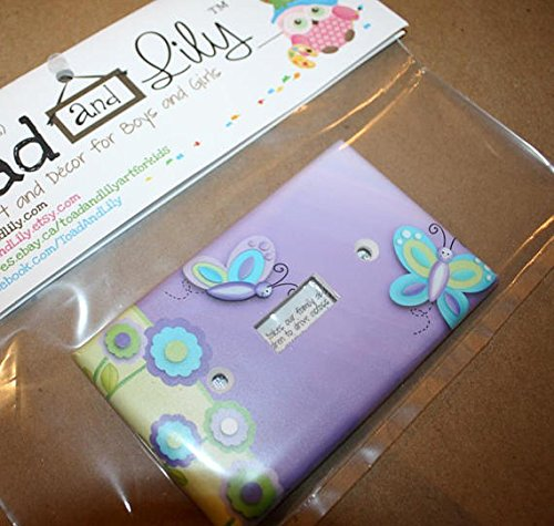 Lilac Green Butterfly Nursery Bedroom Light Switch Cover LS0029 (Single Cable) Toad and Lily LS0029d