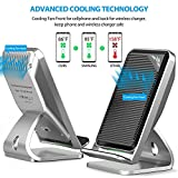 Fast Wireless Charger with Fan, Ultra Slim Cooling Fan Stand Pad Mat Wireless Charger for iPhone X 8 Plus Samsung Galaxy S8 Plus S7 S6 Edge Plus Note 8 5 Nexus 6/7, Huawei, and All Qi Enabled Devices