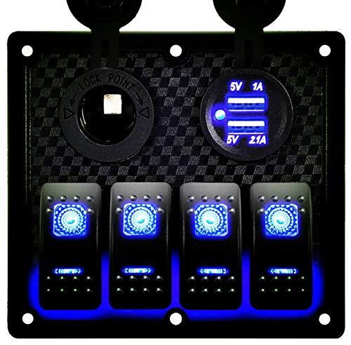 DCFlat 5 Pin 4 Gang LED Car Marine Boat Rocker Switch Panel Dual USB Waterproof Power Socket