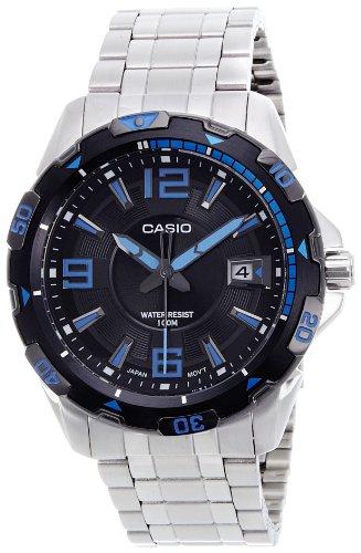 Casio Men's MTD1065D-1AV Silver Stainless-Steel Quartz Watch with Black Dial