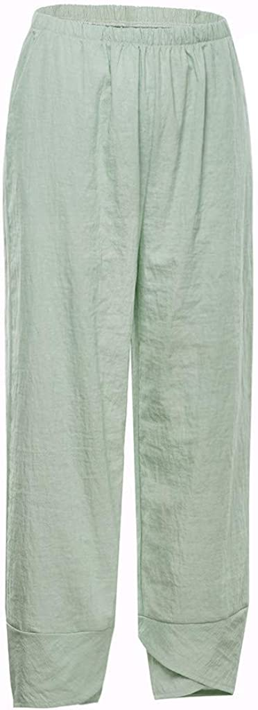 wodceeke Womens Cotton Linen Pants Cropped Wide Leg Elastic Waist Ankle Solid Color Trousers with Pockets